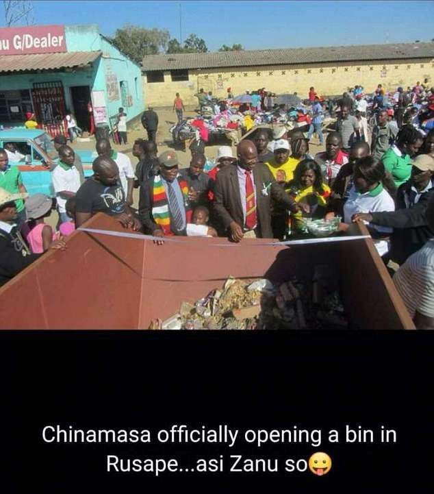 Mr Chinamasa had been in the town of Rusape to open a sports complex before taking part in a second ceremony for the bins