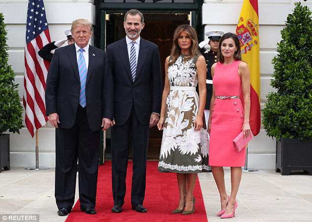 President Donald Trump and first lady Melania Trump welcome Spain's King Felipe VI and Queen Letizia at the White House