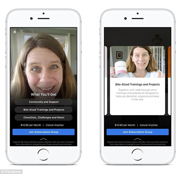 Facebook communities can now create paid-for groups that charge a monthly access fee for exclusive content, including posts, live Q&As, videos and meet-ups and events. Pictured: Blogger Sarah Mueller's Organise My Home group that costs $14.99 (£11.40) a month to join