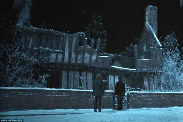 This grab from the Deathly Hallows shows Harry outside the house where he was born as Hermione Granger looks on. In real life it's called De Vere House