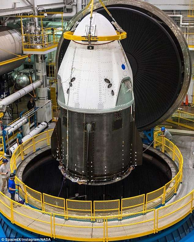 SpaceX's Crew Dragon being loaded intoNASA's Plum Brook Station testing facility in Ohio, home to the largest thermal vacuum chamber in the world, to demonstrate its capability to withstand the extreme temperatures and vacuum of space