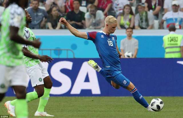 Hordur Magnusson of Iceland in action during the FIFA World Cup 2018 group D match on Friday evening inVolgograd
