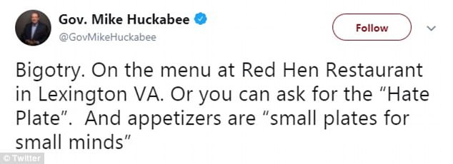 Sanders' father, Mike Huckabee, the governor of Arkansas from 1996 to 2007, also slammed the decision to evict his daughter