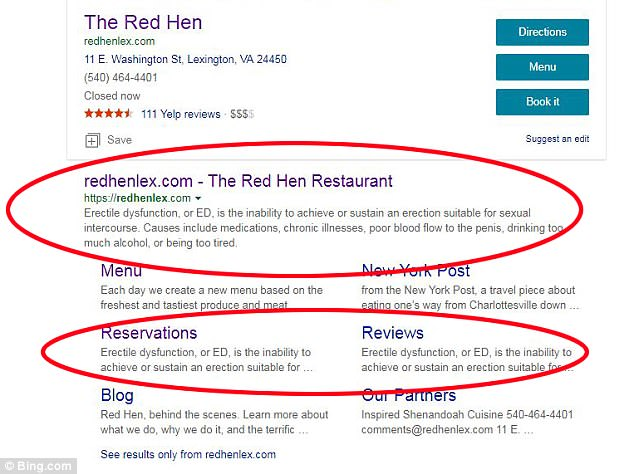 The restaurant's website has been hacked to say 'erectile dysfunction' in the description box