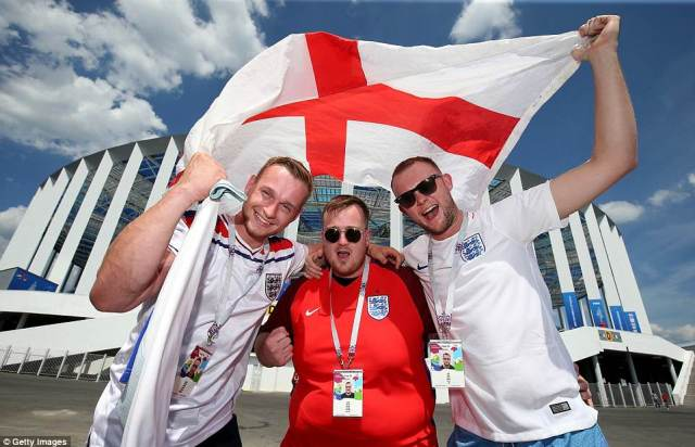 England fans enjoy the pre-match atmosphere in Nizhny Novgorod ahead of today's Group G match against Panama