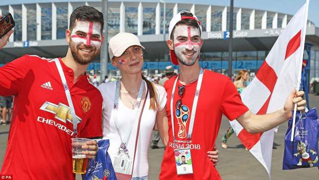 England fans show their support outside the Nizhny Novgorod stadium ahead of Sunday afternoon's Group G fixture