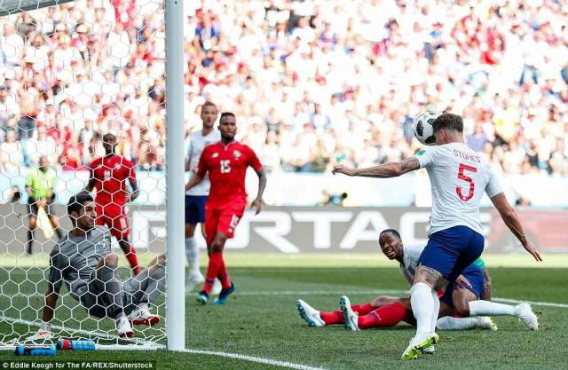 John Stones follows up Raheem Sterling's effort to put England into a 4-0 lead before half time against Panama