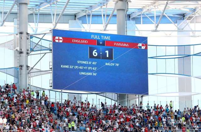 A big screen at the stadium displays the final score as England thrash Panama in their second Group G fixture in Russia