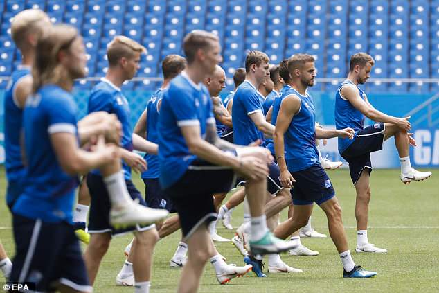 The Iceland squad are put through their paces during their intense training session in Rostov