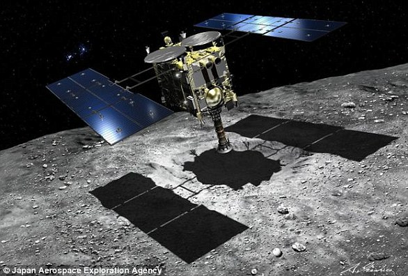 Hayabusa Two (artist's impression) carries a number of experiments including four surface rovers and an explosive device designed to gouge out 'fresh' rock samples