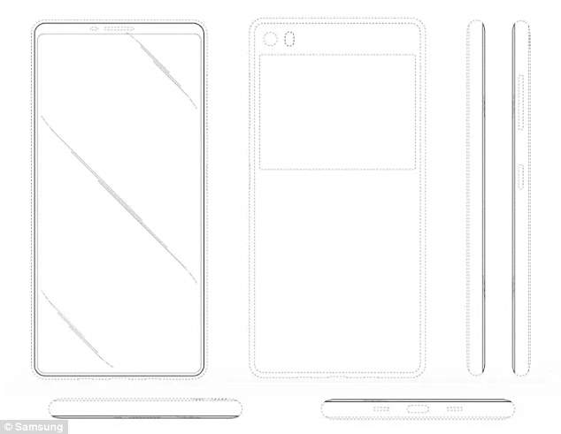 While Apple's handset still relies on a 'notch' to house its sensors, the Samsung patent shows off a button-free, bezel-free, headphone jack-free phone that is all screen. The concept also appears to have a second screen on the rear of the phone.