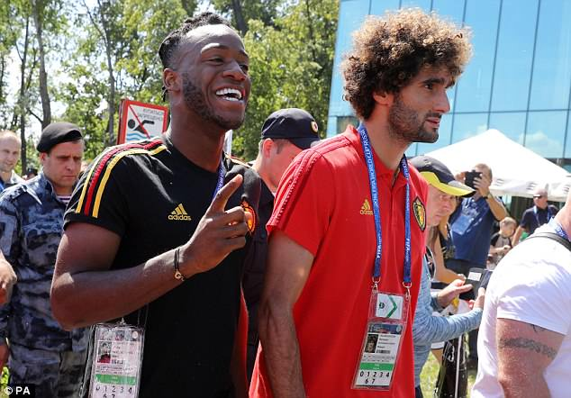 Batshuayi was in extremely high spirits as the Red Devils went on their extremely brief stroll