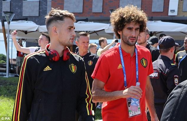 Adnan Januzaj speaks to Marouane Fellaini ahead of Belgium's Group G decider with England