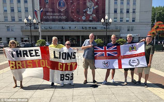 England fans from Bristol with their club name in Russian at Victory Square in Kaliningrad
