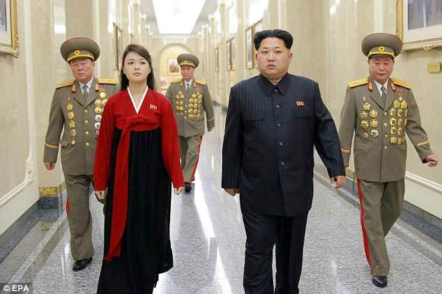 North Korea's leader with his wife Ri Sol-ju at the Kumsusan Palace of the Sun in Pyongyang