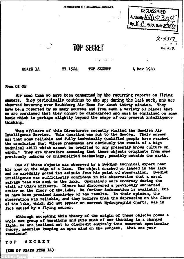 Pictured: A 1948 Top Secret US Air Force UFO extraterrestrial document.In December 2017, The New York Times broke a story about the classified Advanced Aviation Threat Identification Program, which was a $22 million program run by the former Pentagon official Luis Elizondo and aimed at studying UFOs