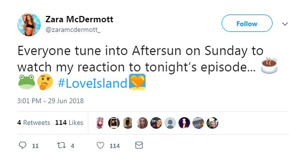 After the show aired, she wrote on Twitter:'Everyone tune into Aftersun on Sunday to watch my reaction to tonight's episode...'