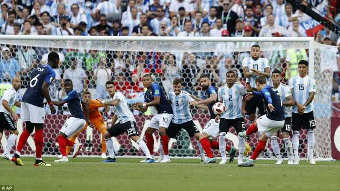 France were in control in the early stages of the match and Griezmann smacked the crossbar with a stunning free-kick