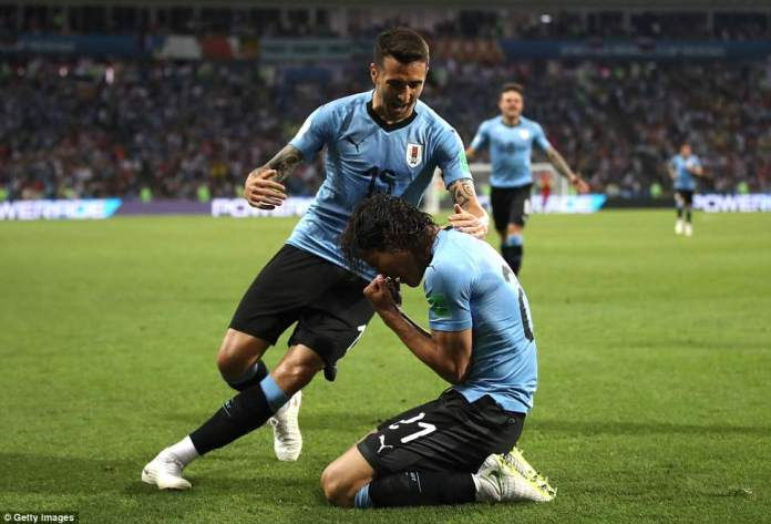 Inter Milan midfielder Matias Vecino was the first of Cavani's Uruguayan team-mates to join the striker in the celebrations