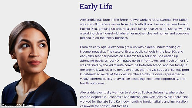The candidate's official bio (above) omits her time living in Westchester, instead claiming that her life was 'defined' by the commute between the Bronx and an upstate school
