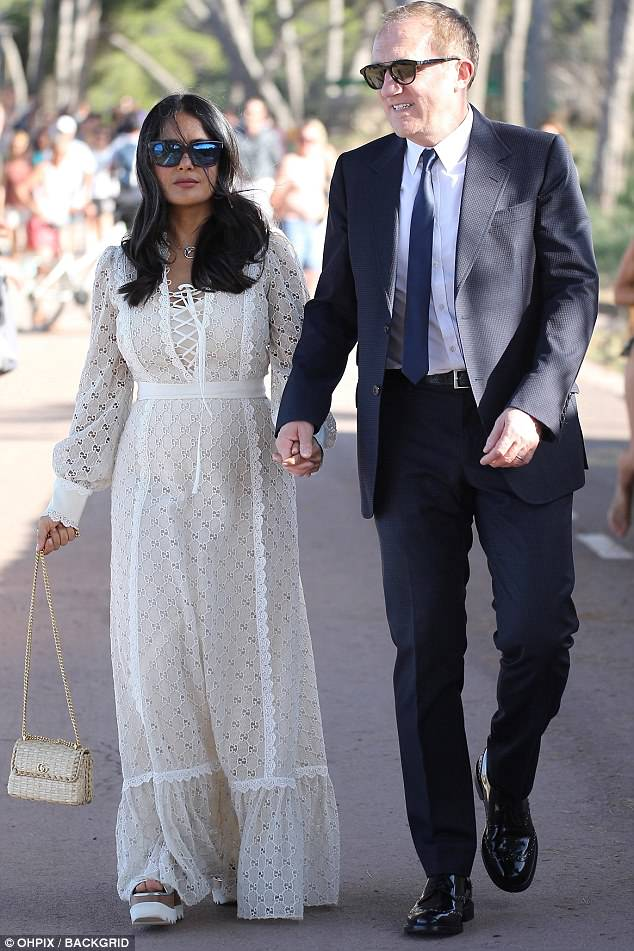 Salma Hayek looks heavenly at wedding of Elon Musk's
