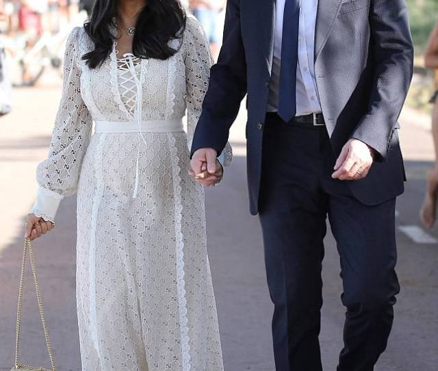 Heavenly Salma Hayek Wore A White Laced Up Eyelet Dress To The Wedding Of