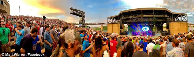Taylor was in Memphis to watch one of his favorite bands, Widespread Panic, perform at the Mud Island Amphitheater on the evening of June 29. The band is pictured here that night