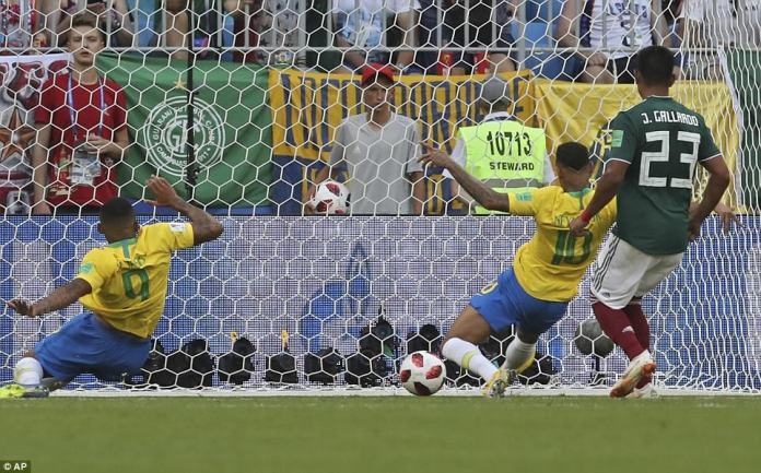 The Brazil forward had scored the opener from a similar position having started and finished a slick move