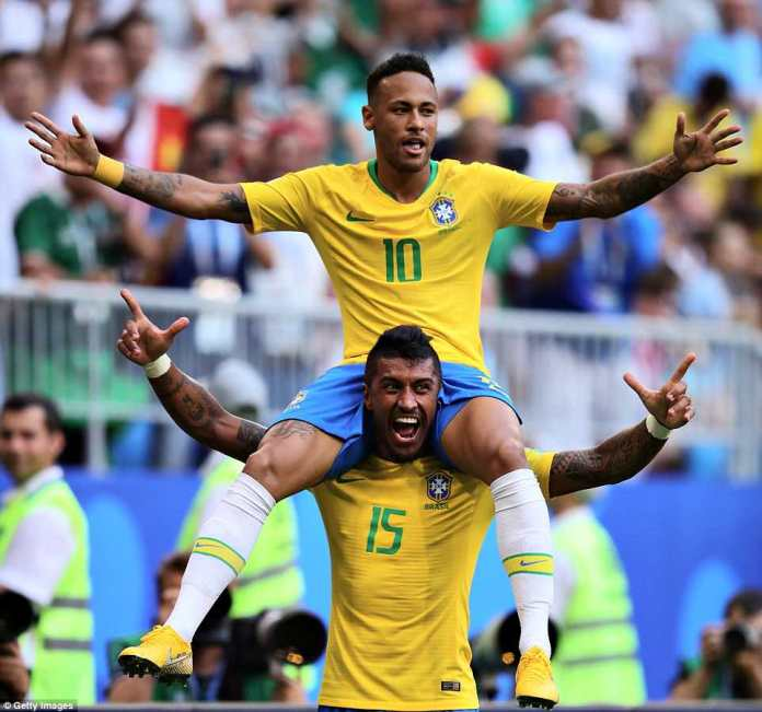Neymar was given a ride on the shoulders of Paulinho after the striker opened the scoring shortly after half-time