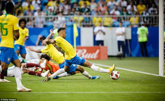 At full stretch Neymar managed to redirect the ball into the net after Guillermo Ochoa had been beaten by the cross