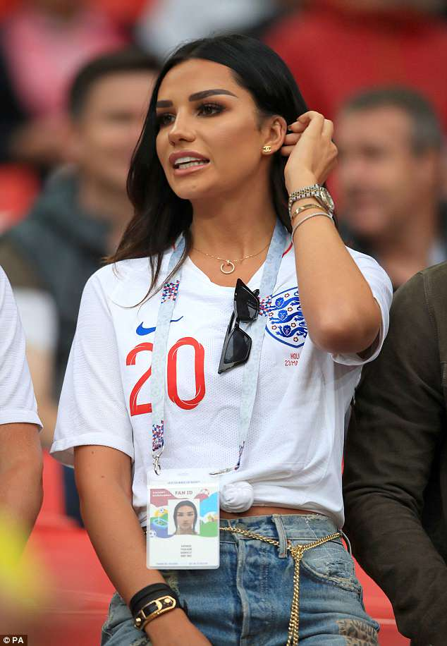 Standing by her man: Ruby Mae ensured she'd be there to cheer on Dele Alli for England's match against Columbia on Tuesday, arriving in the nick of time after jetting into Russia