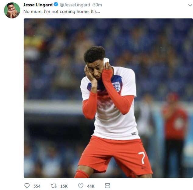 Manchester United forward Lingard posted this amusing photo on Twitter after the victory