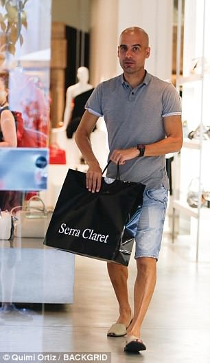 Guardiola did some shopping at Serra Claret, a trendy shop owned by his wife Cristina Serra