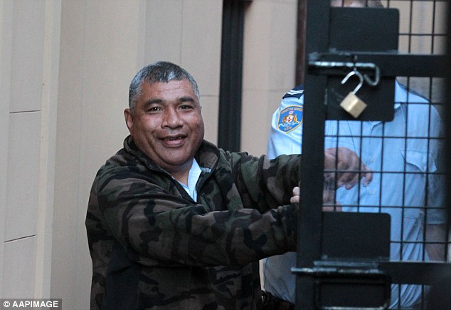 Alani Afu grinned for the cameras and gave a big thumbs up as he was led into a prison van after his NSW Supreme Court sentencing hearing on Thursday