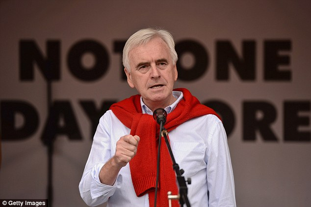 The shadow chancellor John McDonnell called for an end to the