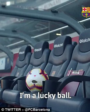 A football on the Barcelona bench then begins to talk