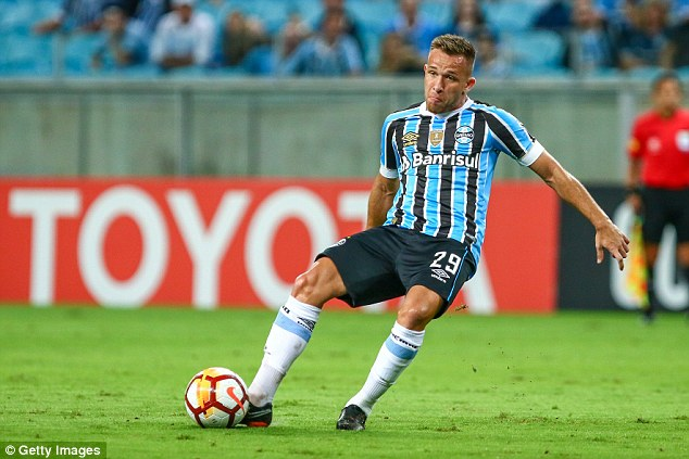 Barcelona completed the £27.5million signing of midfielder Arthur from Brazilian club Gremio