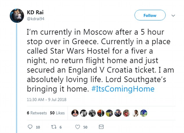 Another social media user wrote about how they stopped over in Greece for five hours to make sure they could get to Russia in time