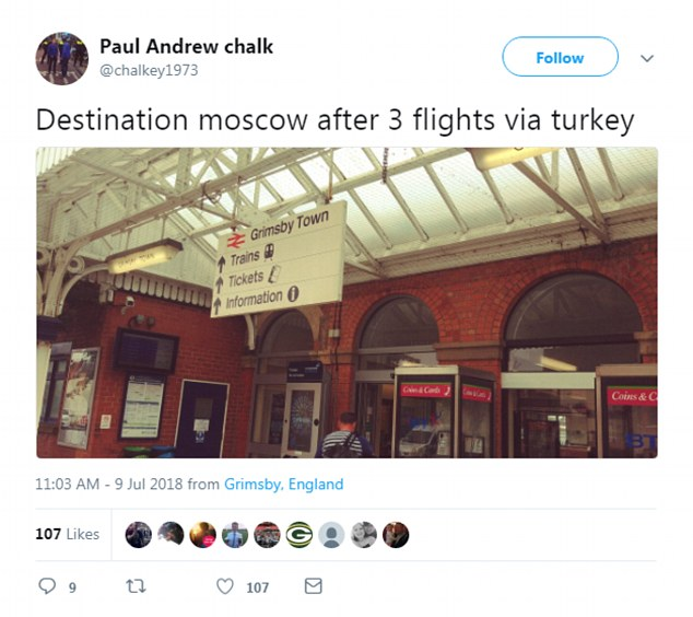 Others are taking any means of transport available to get to Russia, such as Paul Chalk who is getting a train from Grimsby before taking three flights via Turkey