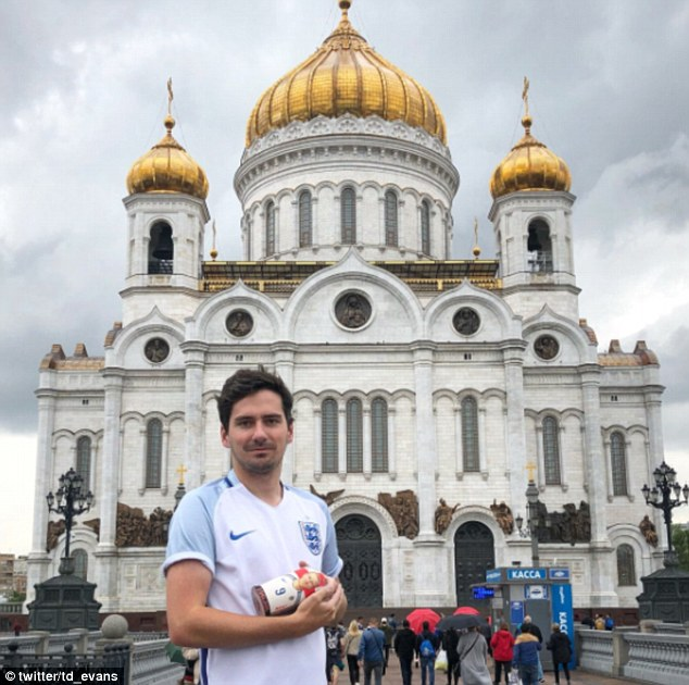Thomas Evans, pictured in Moscow, booked his flights to Russia while at a wedding on Saturday when England took the lead against Sweden