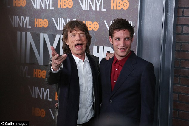 """Doting dad:Mick Jagger his  son James  attend the New York Premiere of """"Vinyl"""" at Ziegfeld Theatre in 2016"""