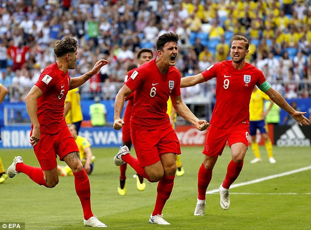 The England squad (pictured celebrating their goal against Sweden in the quarter final) are playing against Croatia tonight in a World Cup clash