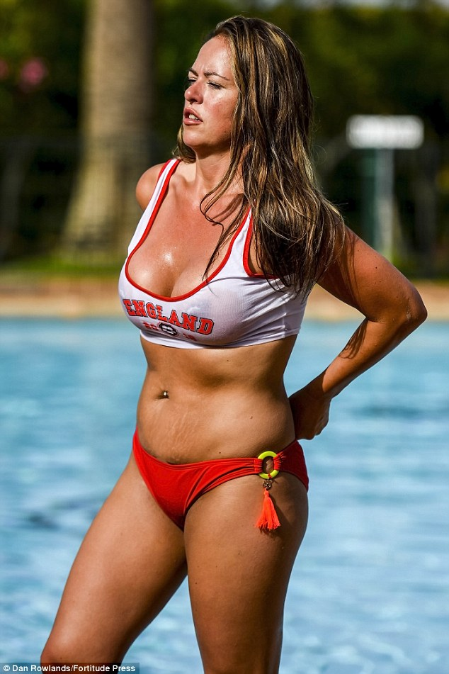 The mother-of-two later cooled off under the shower as she topped up her tan ahead of the much anticipated match tonight