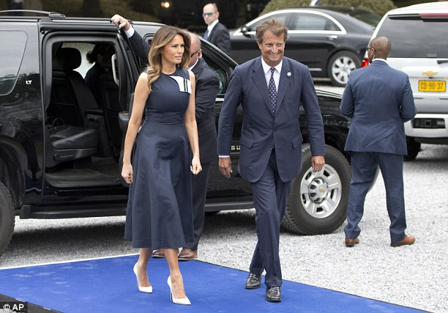 Melania Trump arrives at the Queen Elisabeth Music Chapel in Waterloo, Belgium, during a spouses program on the sidelines of the NATO summit
