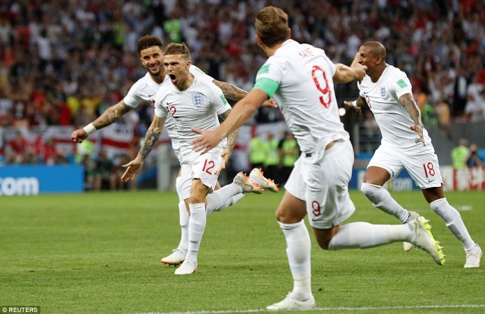 Kieran Trippier roars in celebration after giving England a fifth minute lead against Croatia with a stunning free-kick