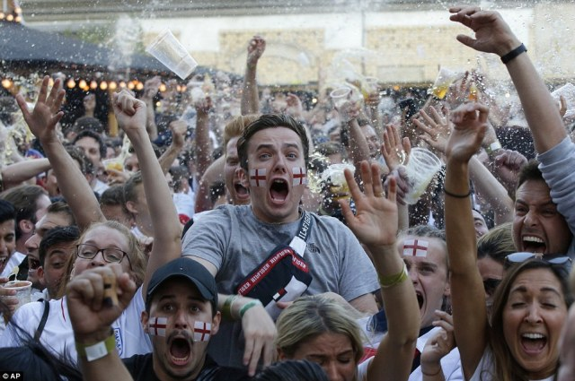 London: Fans in Flat Iron square went mental when the goal went in as beer was thrown through the air in celebration