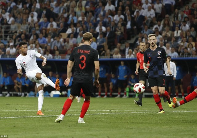 Jesse Lingard has the chance to double England's advantage but he can only curl a tame effort wide of the Croatian goal