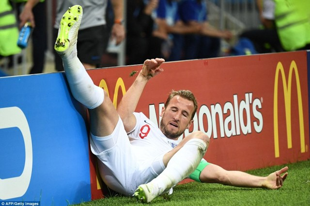 England striker Harry Kane is sent tumbling into the advertising hoardings after being on the end of a strong challenge