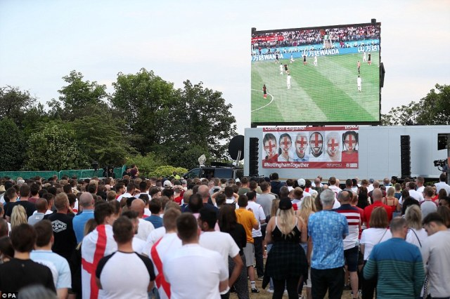 The singing stopped atNottingham Castle as England fans were stunned at the second half equaliser from Croatia in the Luzhniki Stadium