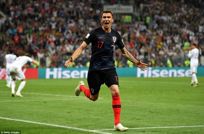 Mario Mandzukic celebrates after putting Croatia in front for the first time with just 11 minutes remaining in Moscow